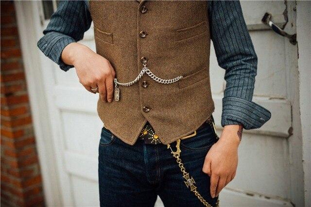 Men's Suit Vest Boutique Wool Tweed Slim Fit Leisure Cotton Male Gentleman Beckham Business Waistcoat For Wedding Groomsmen 4