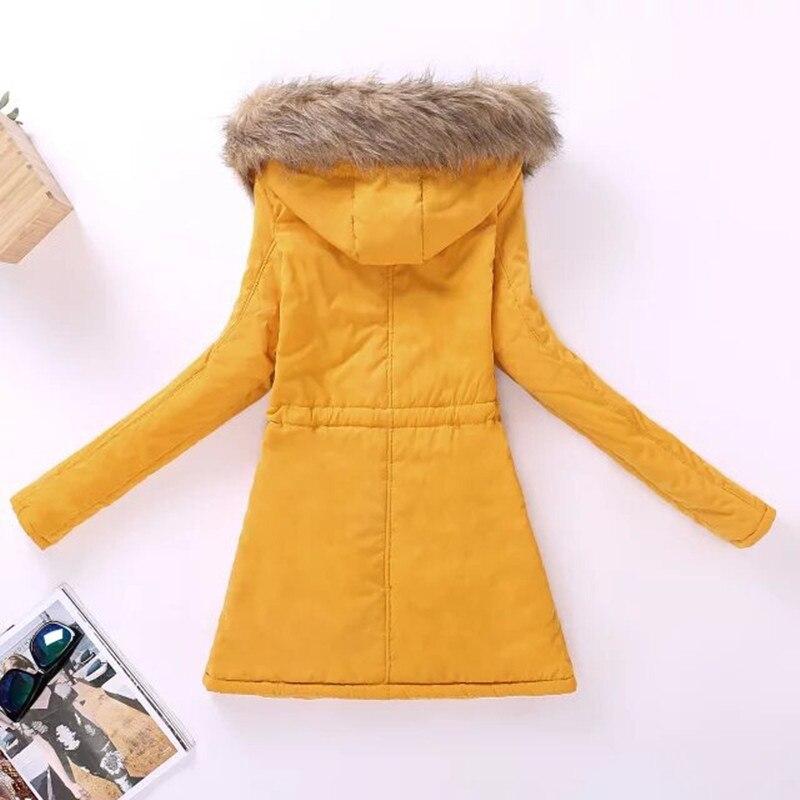 Women Parka Fashion Autumn Winter Warm Jackets Women Fur Collar Coats Long Parkas Hoodies Office Lady Cotton Plus Size 3