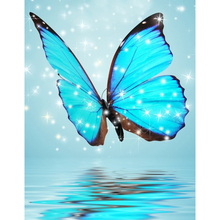 H1011 diamond painting square rhinestones Blue butterfly,5d puzzle,full