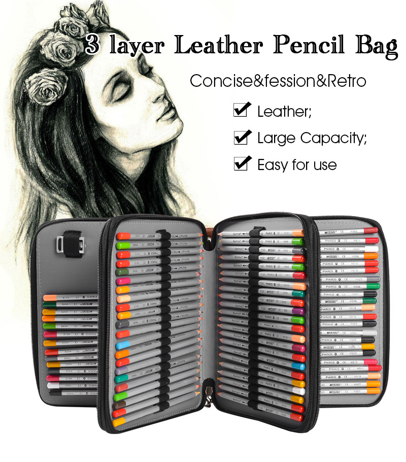 124 Holder 4 Layer Portable PU Leather School Pencils Case Large Capacity Pencil Bag For Colored Pencils Watercolor Art Supplies 120 holder 4 layer portable pu leather school pencils case large capacity pencil bag for colored pencils watercolor art supplies