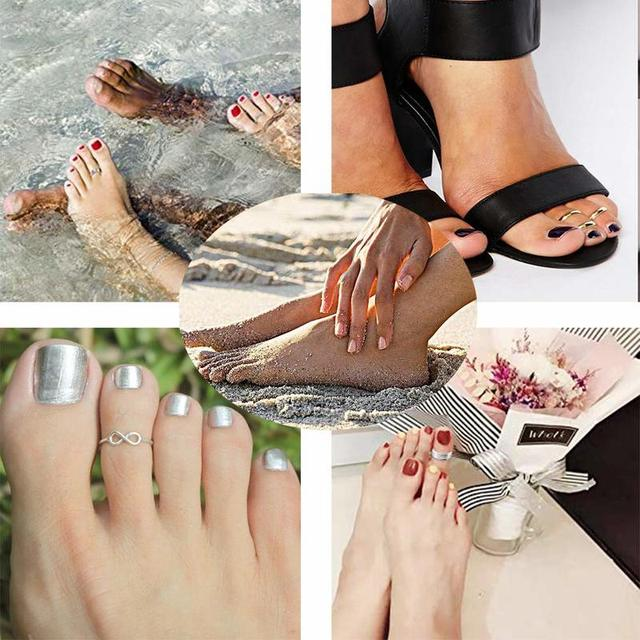 Summer Beach Vacation Knuckle Foot Ring Open Toe Rings Set for Women Girls Finger Heart Ring Adjustable Jewellery Wholesale 3
