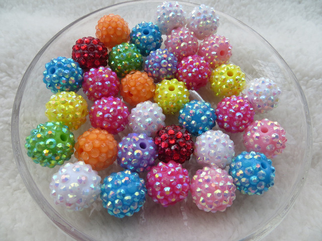 Kwoi vita Random Mix Whoelesales Price Mix Colorful color 14mm 200pcs/lot Chunky Resin Rhinestone Beads Ball for Kids  Jewelry