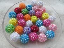 Kwoi vita de mezcla al azar Whoelesales precio Mezcla color colorido 14mm 200 unids/lote resina cuentas de diamantes de imitación de bola para los niños joyería