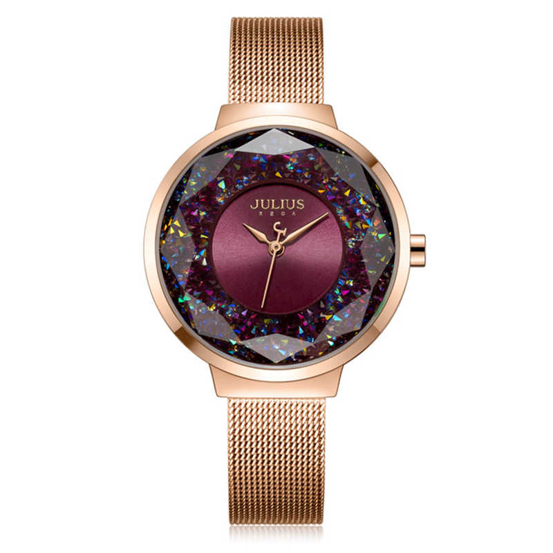 1faa67253b8 ... Julius Brand Luxury colorful Women Watches Rose Gold Dress Ladies  Stainless Steel Bracelet Watch Crystal Quartz ...