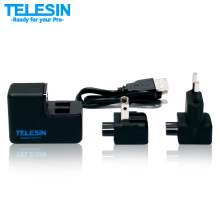 TELESIN Professional EU/US Plug Detachable Dual USB Gopro Wall Battery Charger for Gopro Hero 3 / 3+/4