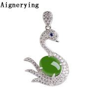 S925 silver Certificate Green Natural Goose inlaid Jade Pendant Necklaces Para Vintage for Women Necklace Bijou Gift Box