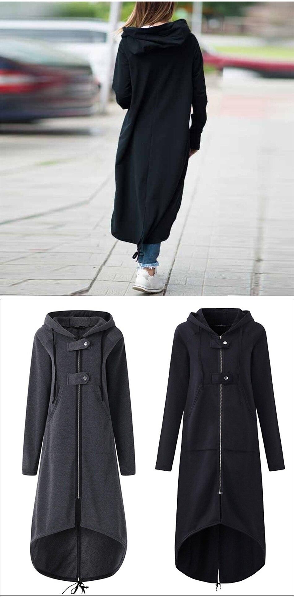 CROPKOP Fashion Long Sleeve Hooded Trench Coat 18 Autumn Black Zipper Plus Size 5XL Velvet Long Coat Women Overcoat Clothes 2