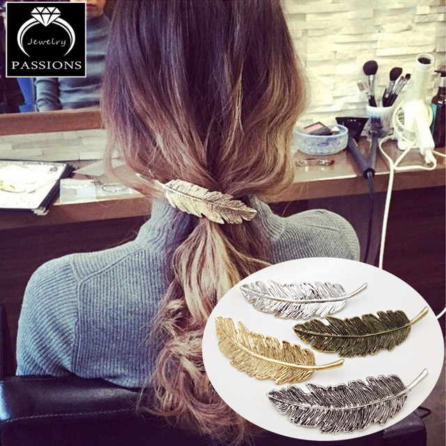 Fashion Pretty Hair Clips Vintage Gold&Silver Metal Leaf Feather Shape Hairpin E