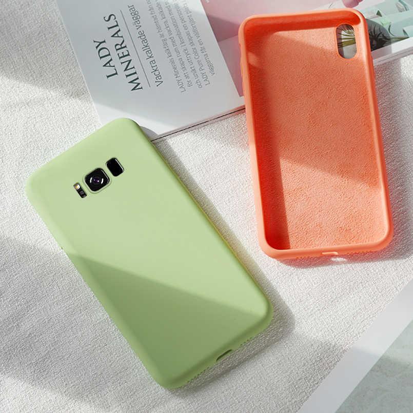 Оригинальный жидкий силиконовый чехол для samsung Galaxy Note 8 9 A10 A20 A40 A50 A70, однотонный Прозрачный Бампер для samsung S8 S9 S10