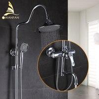 1SET Top Quality Bath Shower Faucets Set Bathroom Mixer Shower Bathtub Tap Rainfall Shower Wall Torneira Tap Shower Head 877005