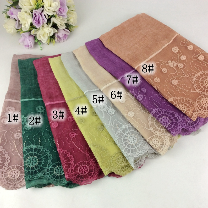 Tie Dye Color Nice Lace Pattern Muslim Hijab Long Women   Scarves     Wraps   10pcs/lot