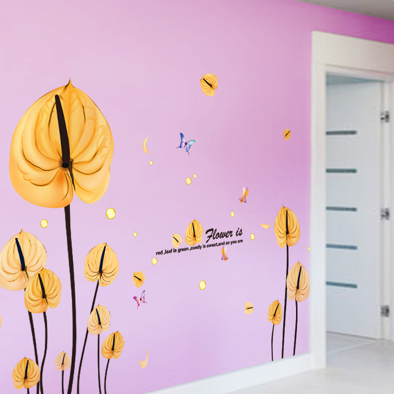 SHIJUEHEZI] Yellow Leaves Wall Stickers PVC Material DIY Flower Home ...