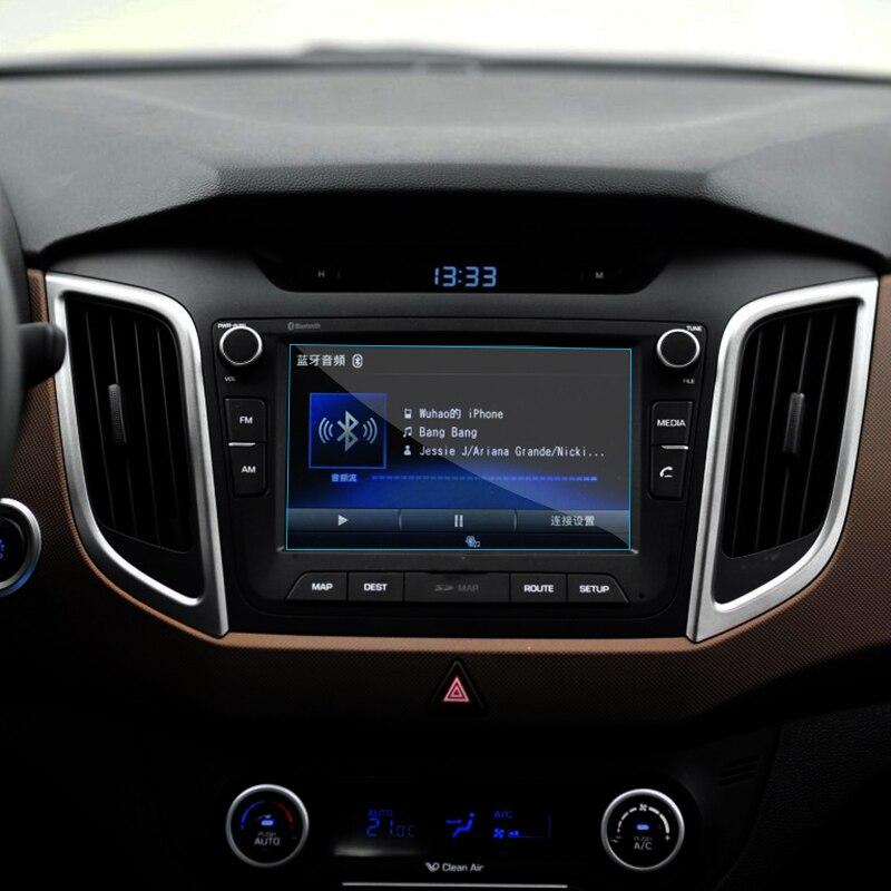 Car GPS Navigation Screen Tempered Steel Protective Film For Hyundai Creta IX25 2015 2016 2017 Control of LCD Screen Car Sticker коврики в салонные ниши синие ix25 для hyundai creta 2016