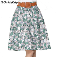 12 OAKS OF KATY Women Retro Leaves Print Cotton And Linen Skirt Elastic Waist Fresh Elegant