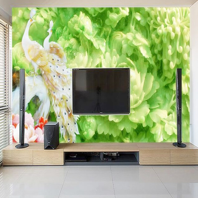 Ermäßigte 3D Natur Tapeten Pfau Grün Blumen Foto Wandbilder ...