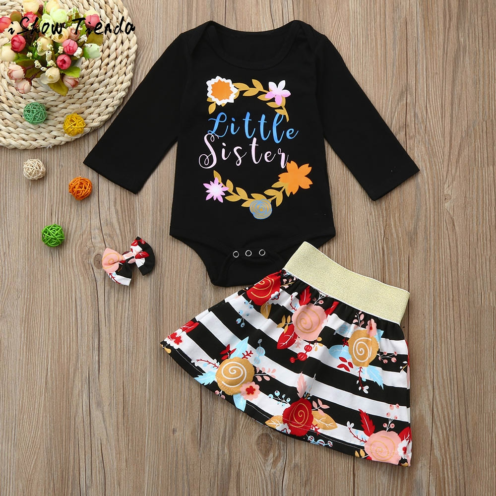 3PZ Newborn Infant Baby Girl Letter print o-neck floral Romper+Skirt+Bow Brooch Clip Outfit Set Clothes winter suit costume wear