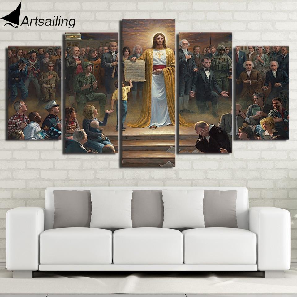 da0bce8a8 HD المطبوعة 5 قطعة قماش الفن الكلاسيكية اللوحة يسوع المسيح يعود إلى الأرض  المسيحي الجدار الديكور شحن مجاني/ny-318