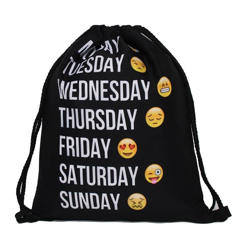 Black Polyester Drawstring Bags School Gym sports storage Bag Cinch Sack polyester Storage Pack Rucksack Backpack