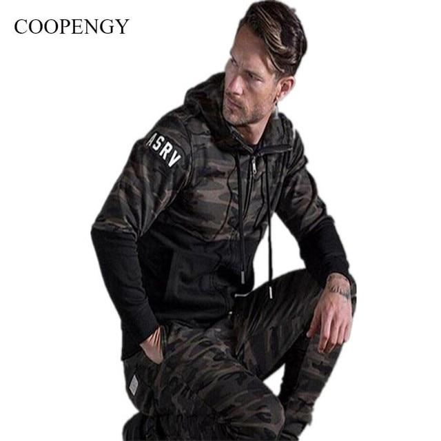 2016 Nova COOPENGY Marca de Moda Moletom Com Capuz outono e moletom com capuz militar camuflagem costura casual brasão tamanho M-XXL dos homens