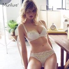 Munllure бежевый Вышивка сексуальное нижнее белье тонкие чашки высокого класса вышивка удобные бесшовные регулируемая комплект с бюстгальтером
