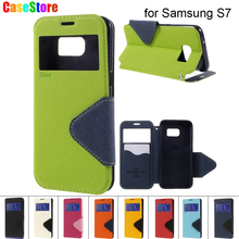 For SamSung Galaxy S7 case ROAR KOREA Diary Window Smart View Leather Stand Phone Cover for Samsung Galaxy S7 + Retail Package