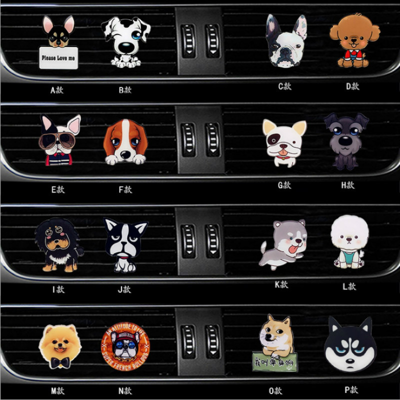 Cute Dog Style Acrylic Air Freshener Conditioner Vent Outlet Decoration Perfume Clip Fragrance Auto Interior Smell Accessories