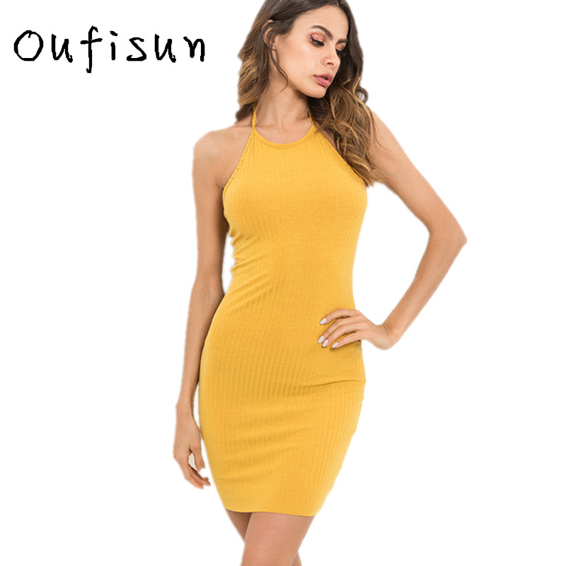 Buy Oufisun solid knit Halter dress sexy sleeveless backless Pack Hip summer women's dresses Simple Elegant mini bodycon Dresses New