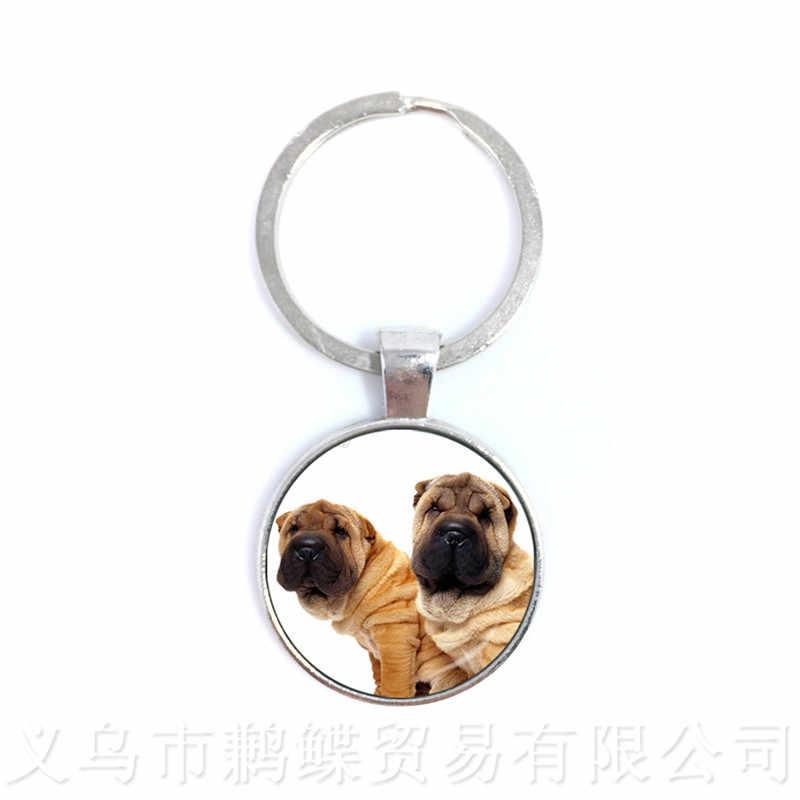 Amante do cão Chaveiros 25 milímetros Rodada Cúpula De Vidro Artesanal Animais Pingente de Moda Presente Criativo Personalizado Personalize O Seu Amado Animal de Estimação