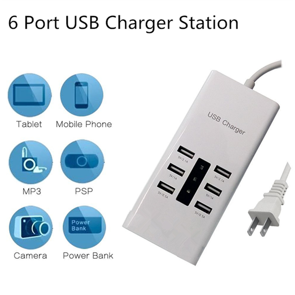 Big Output 7.2A 6 Port USB Charger Fast Smart Charging Station for Smart Phone Tablet PC For Samsung Galaxy S8 Note 7 P10 Lite
