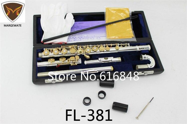 MARGEWATE Flauto FL-381 Doppie Teste Flauti Argento Placcato Corpo Laccato Oro Chiave 16 Fori Aperti C Flauto Key con il Caso