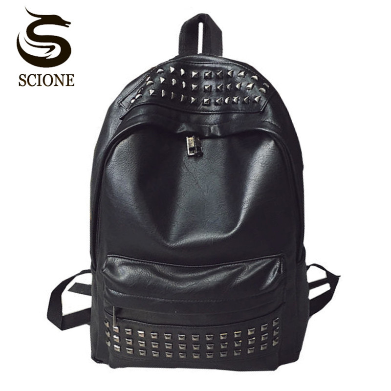Scione Rivets Men's Backpack Fashion PU Leather Shoulder Bag Women Ladies Black Backpacks Girls Boys School Bags Travel Rucksack цена