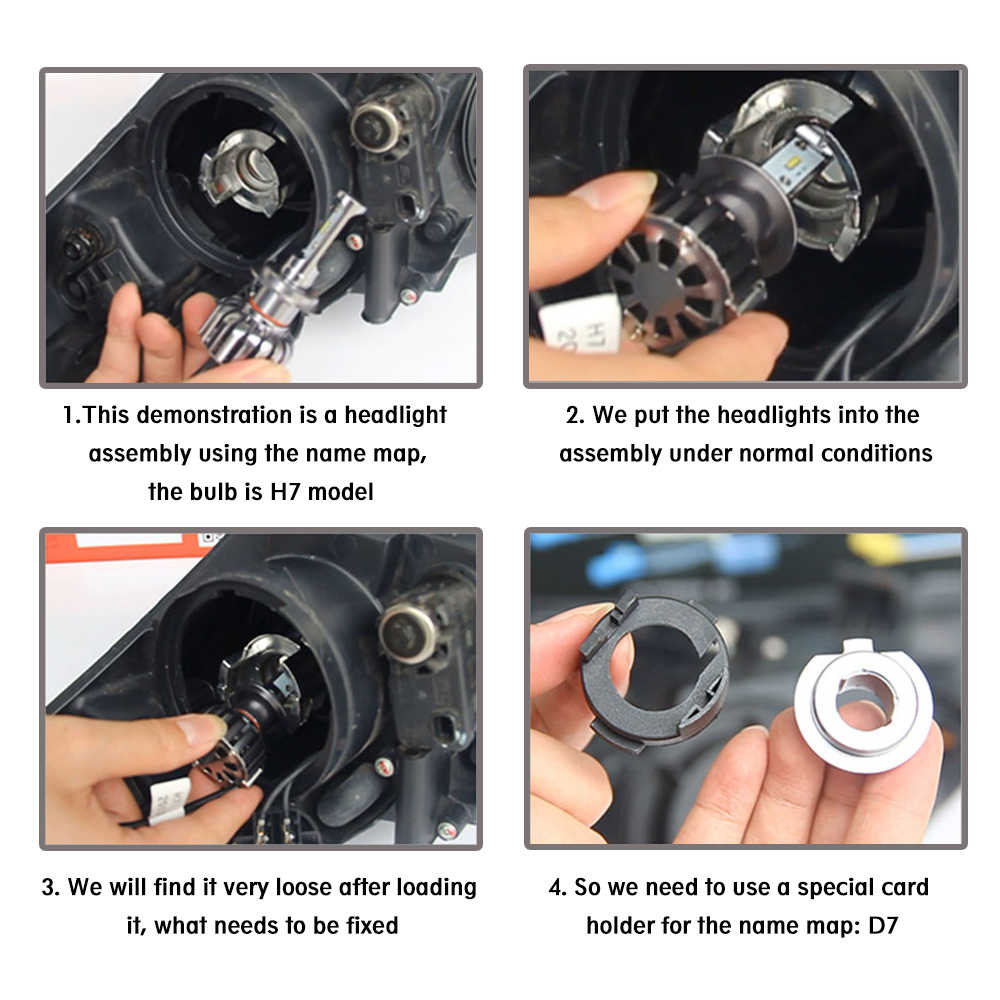 Automotive LED Headlight Adapter Socket For H7 Led Headlamp Bulb Fixed Adapter Base h7 Led Adapter