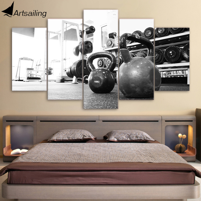 5 Piece Canvas Art Russian Dumbbell Poster Gym Equipment HD Printed Home  Decor Wall Art Canvas