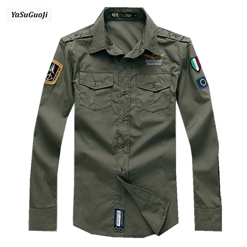 Buy new 2017 military style fashion italy for Mens dress shirt monogram location