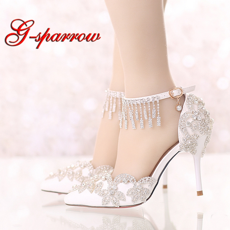 Summer Sandals White Pointed Toe Bridal Wedding Party Shoes Crystal High Heel Bride Dress Shoes with Rhinestone Ankle Straps girls pearl beading rhinestone sandals princess square heel pointed toe dress shoes children wedding party formal shoes aa51329