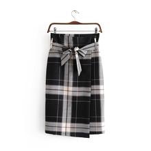 fa7626a70 WYNNE GADIS Autumn Winter Black Plaid Skirts Irregular Lace Up Skirt Saia  for Women's Clothing(