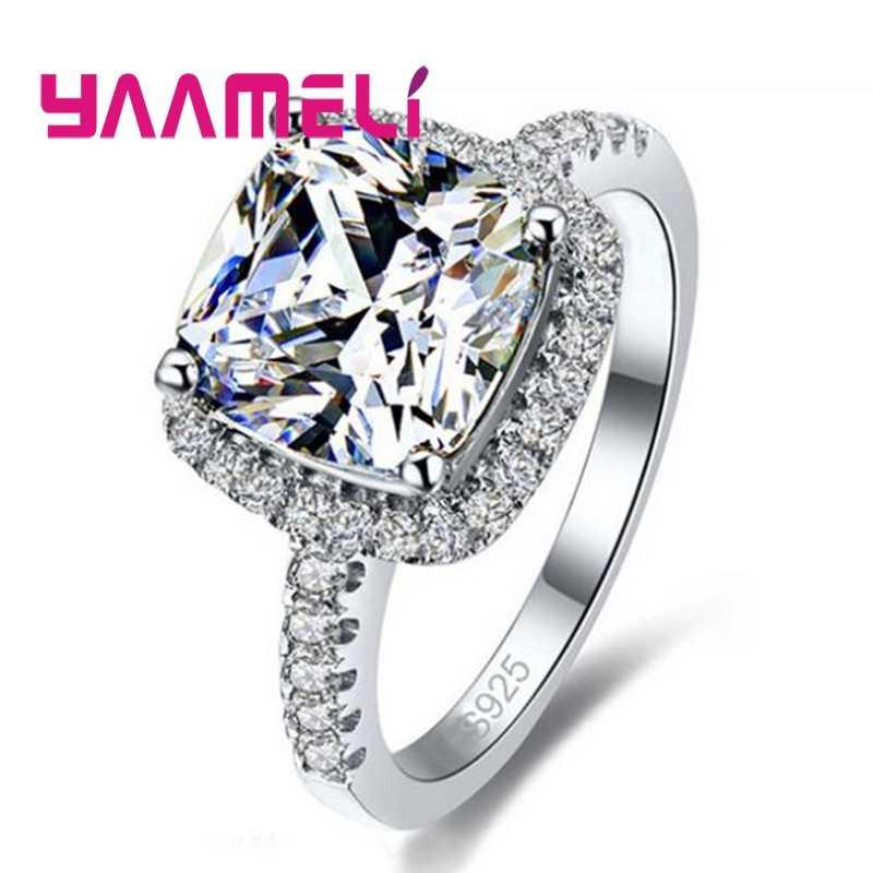 Mode-sieraden Shiny Zirconia Ringen 925 Sterling Zilveren Ring Vinger Voor Vrouwen Meisjes Party Accessoires