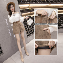 2018 New Autumn Winter Wool Shorts Womens Fashion Lace-up High Waist Woolen Shorts Female Casual Boots Shorts