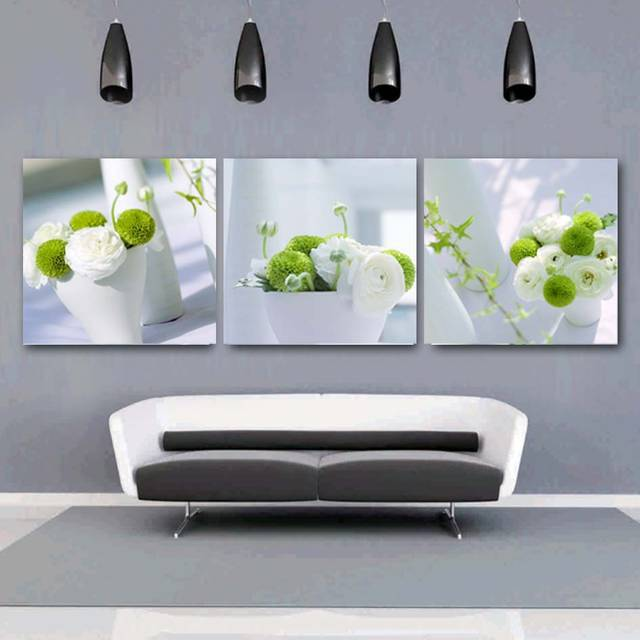 US $9.97 41% OFF|3 Panels Blume Wohnkultur Malerei Große Wand Bilder Für  Wohnzimmer Küche Dinning Weiß Grüne Pflanze Leinwand Poster in 3 Panels  Blume ...