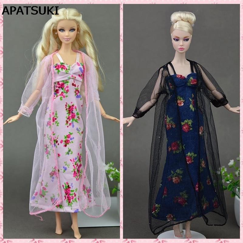 2 stks / set sexy pyjama kant kostuums lingerie nachtkleding kleding voor barbie poppen lange jurken pop accessoires