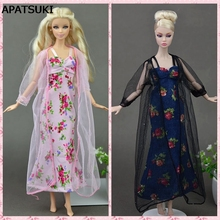 2pcs/set Sexy Pajamas Lace Costumes Lingerie Sleepwear Clothes For Barbie Dolls Long Dresses Doll Accessories
