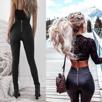 2018 למעלה אופנה נשים עור רוכסן הרמון מכנסיים נשים שחור מקרית גבוהה מותן מכנסיים SkinnyTrousers Pantalon Femme מכנסי עיפרון