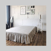 100% Linen Bed Skirt American Bed Skirt Sheet Washed Flax Bed Skirt Solid 45cm Skirt Swing Extravagant Washing Custom Size