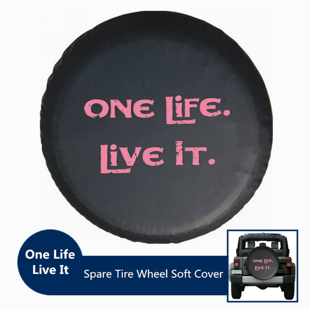 Pink Print One Life Live It Black PU Leather Spare Tire Cover...