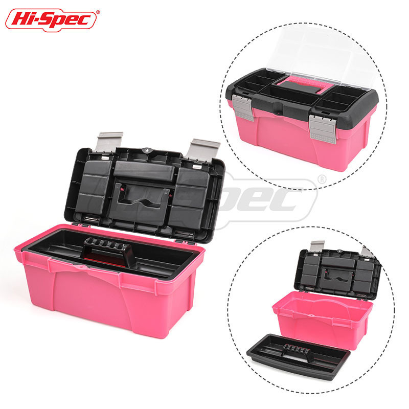 Hi-Spec 10 12.5 Inch Portable Tool Box Plastic Storage Pink Lady Women Inner Layer Toolbox For Tool Components Daily Necessities