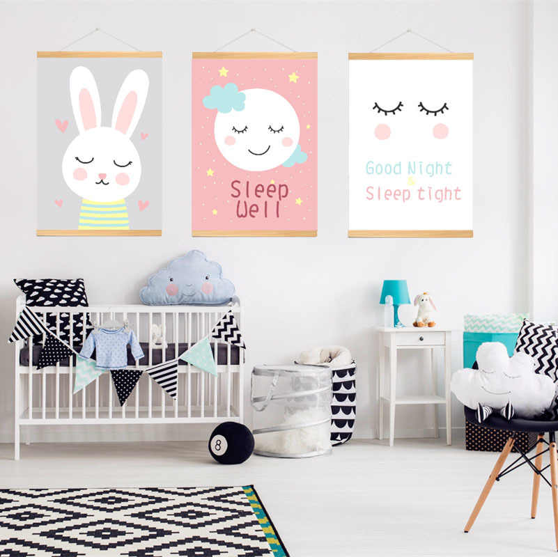 With Wood Frame Stars Clouds Sleep Eyes Print Canvas Poster Painting Wall Pictures for Baby Kids Room Decor,drop Ship