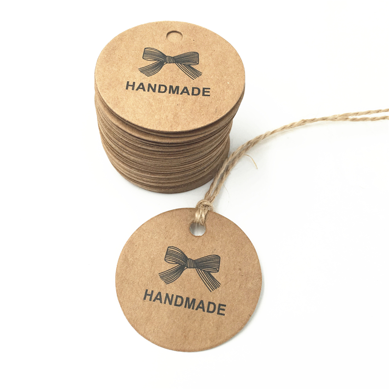 500pc/L Paper Gift Tags Card Hand made Festival Wedding Decoration Blank Mini Luggage Label 4*4cm + 50m Hemp Rope