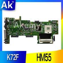 AK K72F REV: 2,0 HM55 DDR3 материнская плата для ноутбука Asus K72F A72F X72F Материнская плата ноутбука HM55 DDR3 PGA989 материнская плата полностью проверена