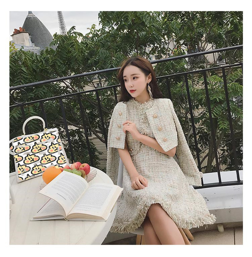 Vintage Women's Shiny Tweed Jacket Sleeveless Dress Ladies Small Suit Tassel Dresses 2 Piece Sets