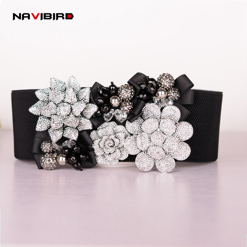 New Rhinestone   Belt   Rhinestone Flower Women's   Belts   female decorative Slim designer elastic womens   belts   corset   belt   Riem